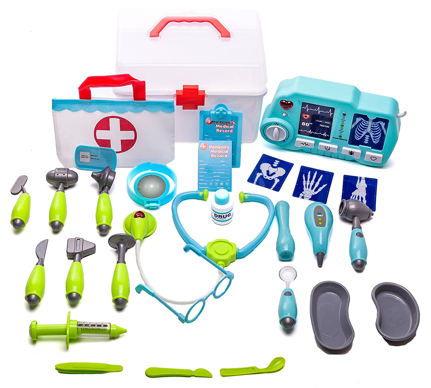 Deluxe Doctor Play Set - 32 pieces including tote bag, storage case and xray machine with light and sound MMP Living