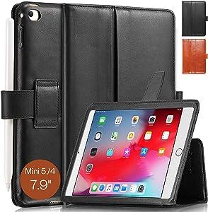 KAVAJ iPad Mini 5 2019 & 4 Case Leather Cover London Black for Apple iPad Mini 5 2019 & 4 Genuine Cowhide Leather with Pencil Holder Built-in Stand Auto Wake/Sleep Function Slim Fit Smart Folio