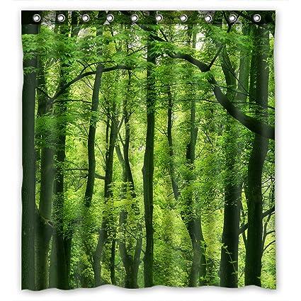 Amazon FMSHPON Beautiful Fresh Green Forest Shower Curtain