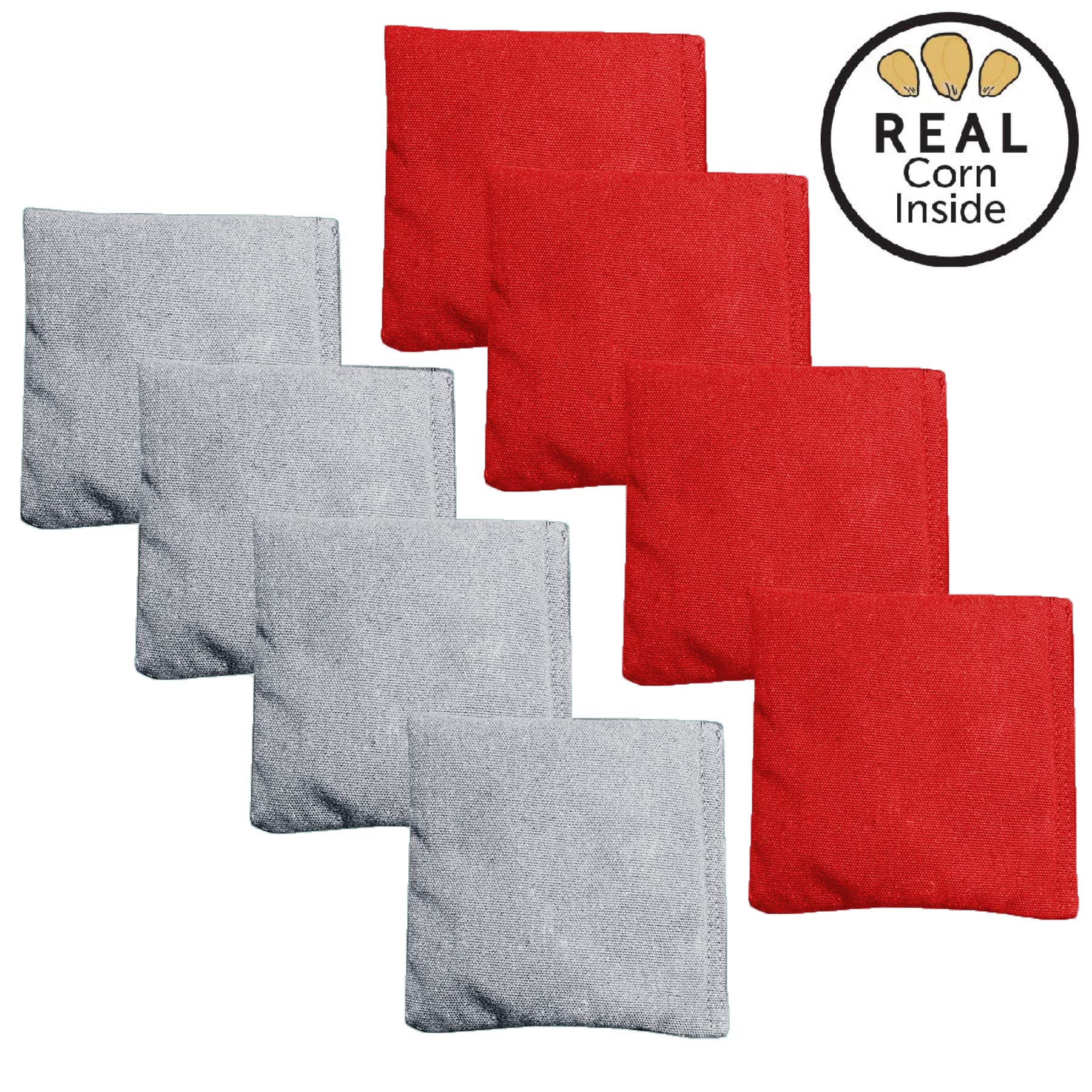 Corn Filled Cornhole Bags - Set of 8 Bean Bags for Corn Hole Game - Regulation Size & Weight - Red and Gray by Play Platoon