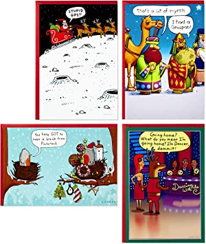 Amazon Com Hallmark Shoebox Funny Boxed Christmas Cards Assortment Cartoons 4 Designs 24 Christmas Cards With Envelopes Office Products
