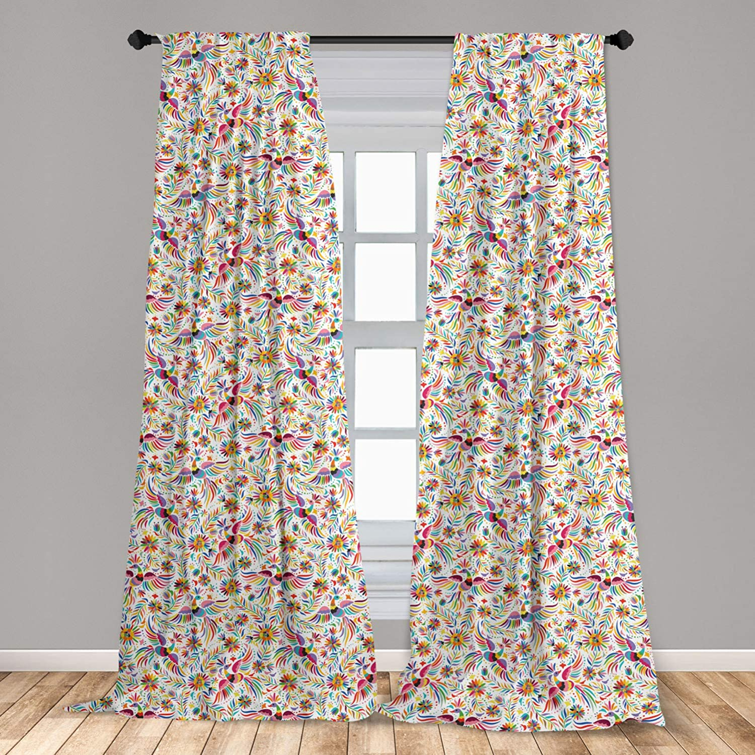 Ambesonne Mexican Curtains, Colorful Nature Inspired Pattern Birds Flowers Leaves and Dots Creativity, Window Treatments 2 Panel Set for Living Room Bedroom Decor, 56