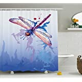 Dragonfly Shower Curtain by Ambesonne, Colorful Purple Moth Watercolored Design with Abstract Grunge Blue Ombre Print, Fabric Bathroom Decor Set with Hooks, 75 Inches Long, Multicolor