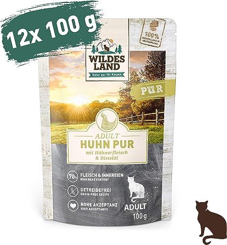 Comida húmeda para gatos Wildes Land, libre de cereales, con extra de carne, mejor aceptación y más digerible, materias primas naturales en la ...