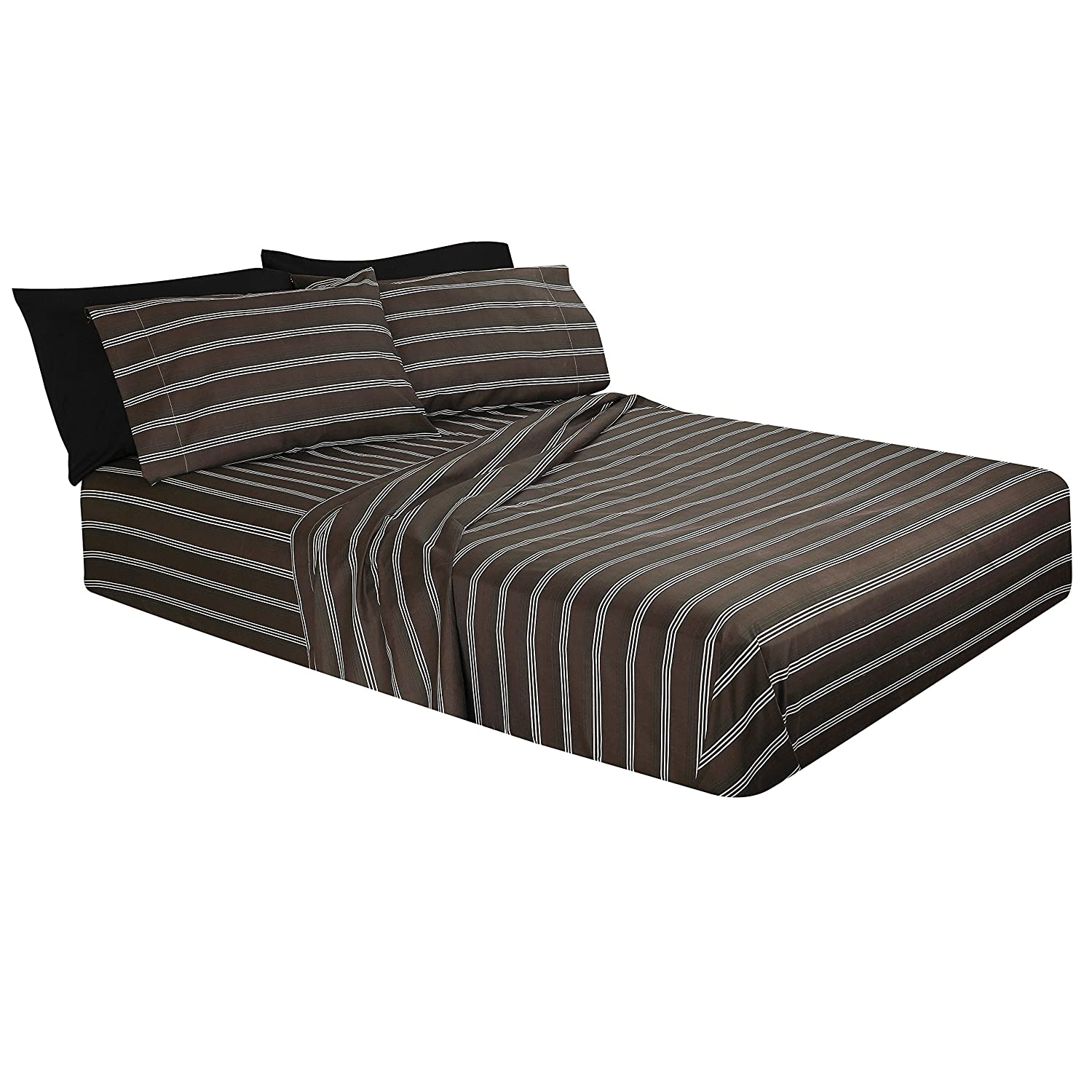 6 Piece Bed Sheet 100/% Soft Brushed Microfiber Hypoallergenic Queen Brown Burgundy and Creme Stripe with Deep Pocket Fitted Sheet Printed Bed Sheet Set 1800 Luxury Bedding Collection.