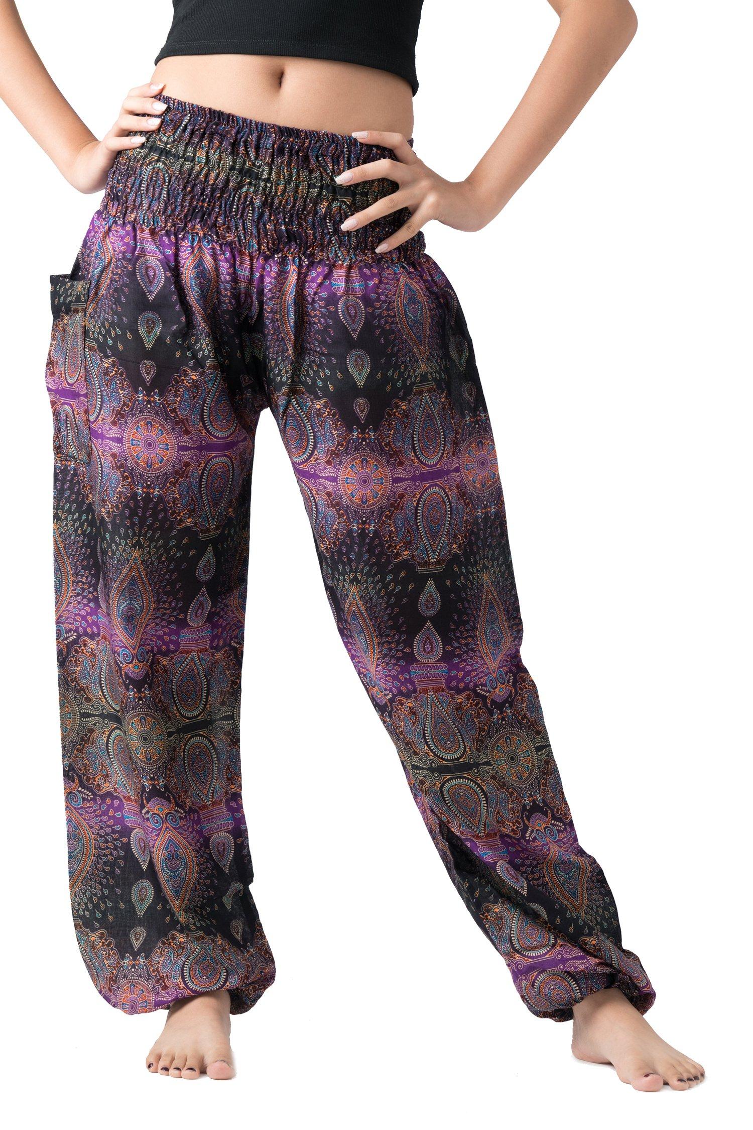 Bangkokpants Women's Boho Pants Hippie Clothes Yoga Outfits Peacock Design One Size Fits (Purple Feather)