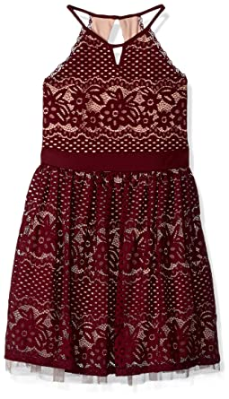 My Michelle Girls Big Special Occasion Dress in Lace, Merlot, ...