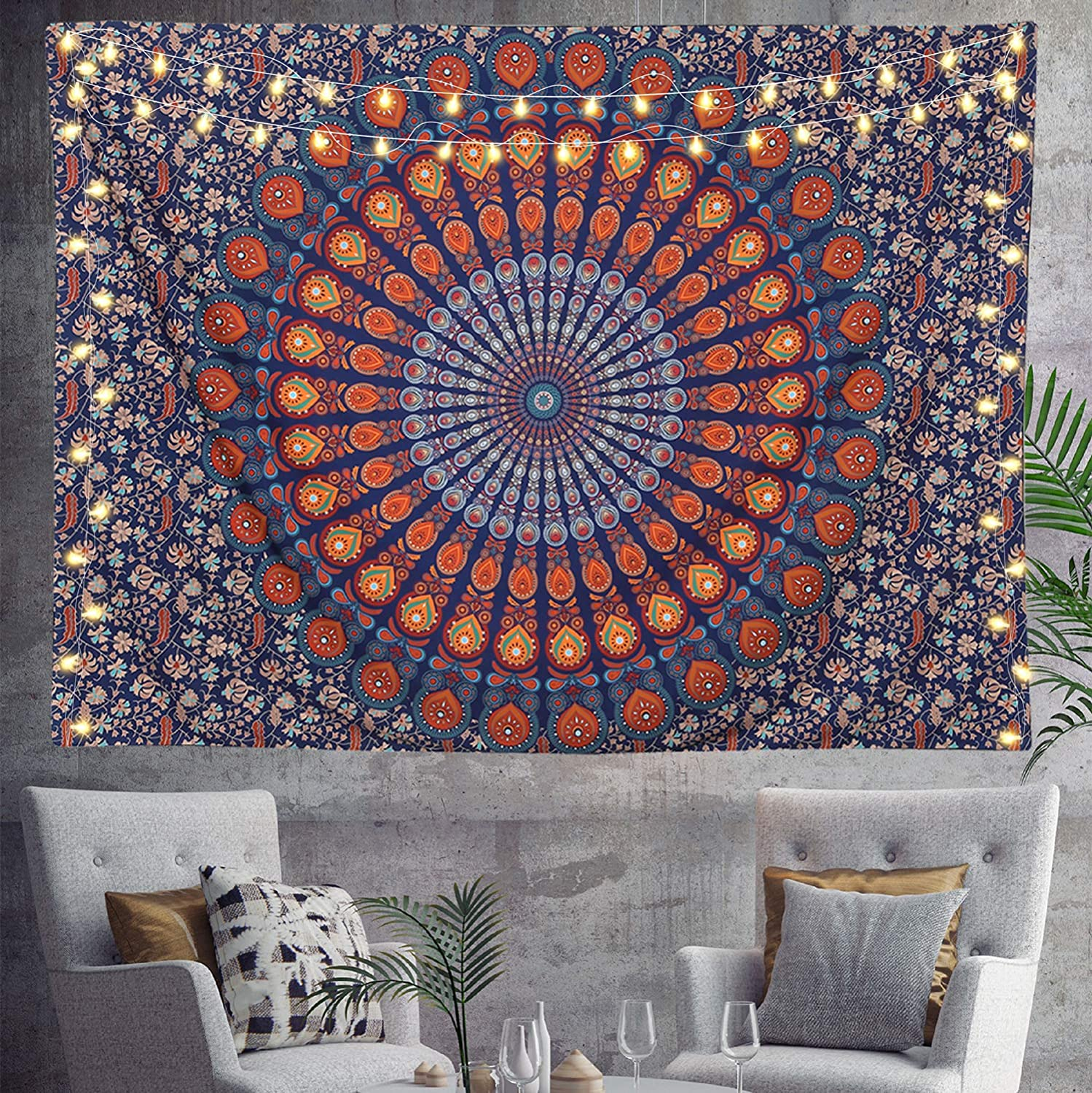 HOMKUMY Mandala Wall Tapestry, Peacock Mandala Indian Bohemian Hippie Tapestry Psychedelic Wall Hanging Tapestry for Home Decor Bedroom Living Room, Golden Blue Large 79x58 Inches