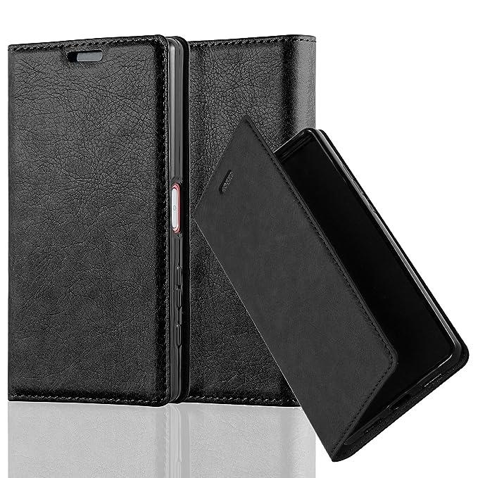 Cadorabo Hülle für Sony Xperia Z5 COMPACT - Hülle in Nacht SCHWARZ – Handyhülle mit Magnetverschluss, Standfunktion und Karte