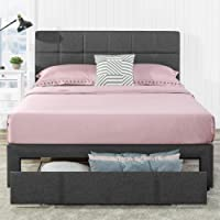 Zinus Lottie Double Bed Frame with Drawer Storage - Fabric Bed Grey Square Stitched