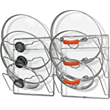 2 Pack - SimpleHouseware Cabinet Door / Wall Mount Pot Lid Organizer Rack, Chrome