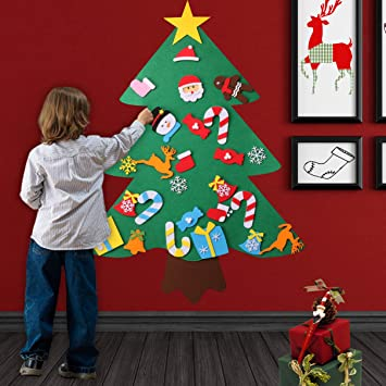 o heart 3ft diy felt christmas tree with 27pcs detachable ornaments wall hanging christmas door