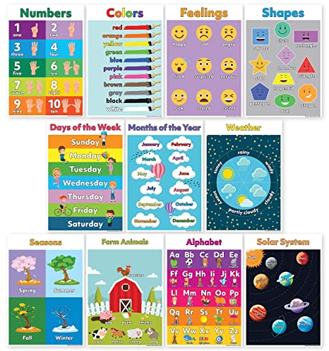 11 Educational Posters for Preschool Learning (Preschool Posters) Classroom  Posters Include ABC/Alphabet Poster, Solar System Poster, Shapes Colors