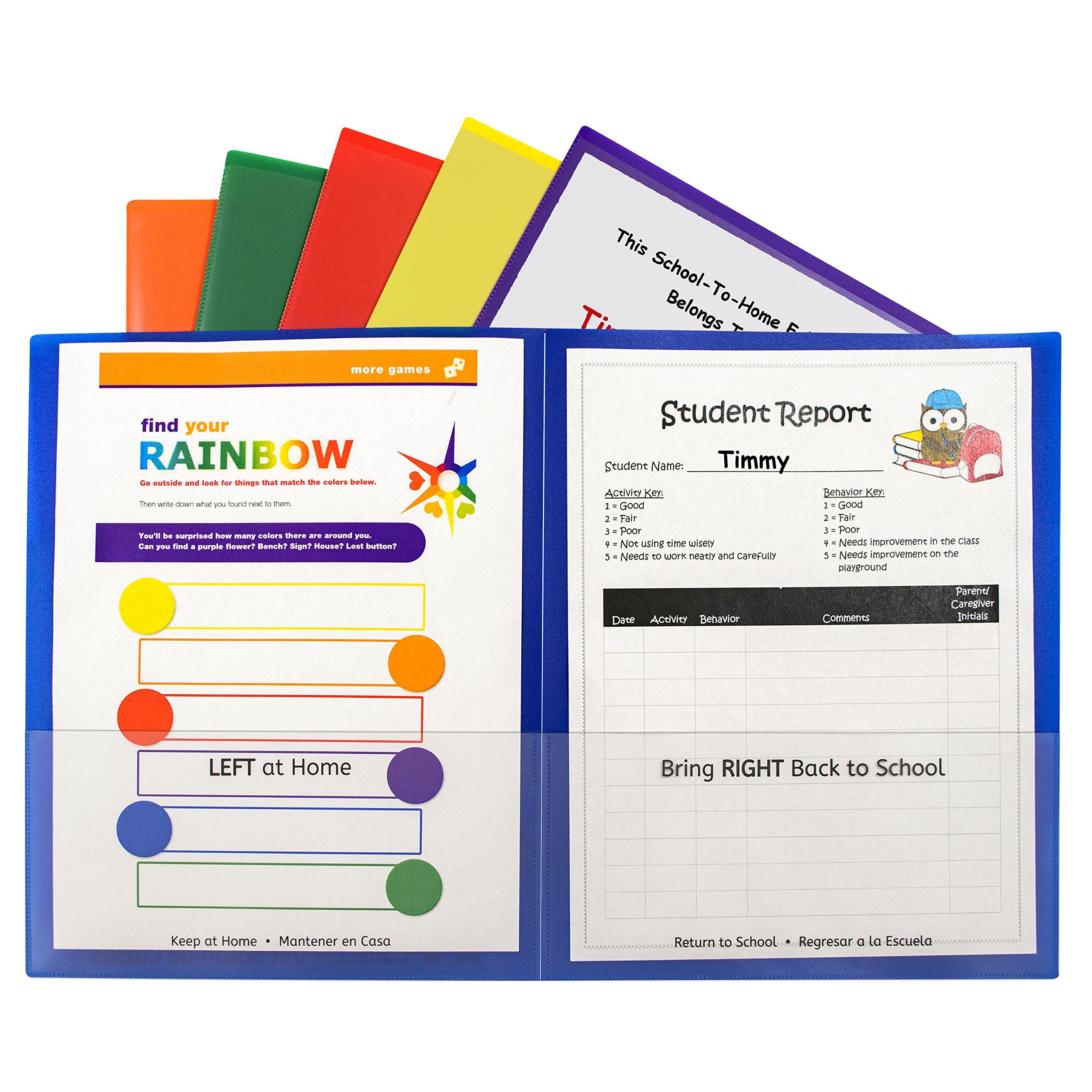 C-Line Classroom Connector School-to-Home Folders, Assorted Colors, 36 per Box (32000-36)