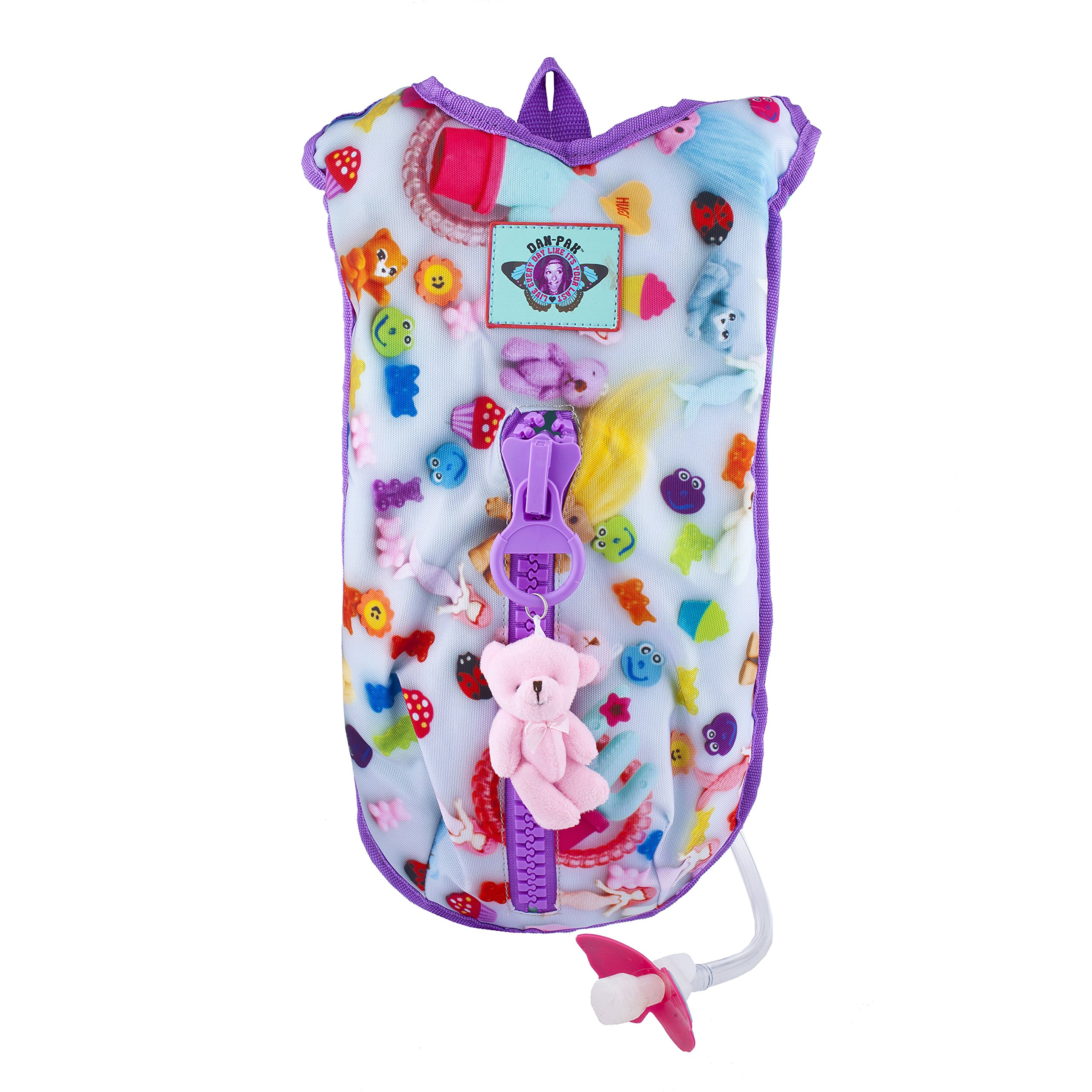 Dan Pak Hydration Pack 2l-Toys - Pink hanging bear and chunky purple zipper!