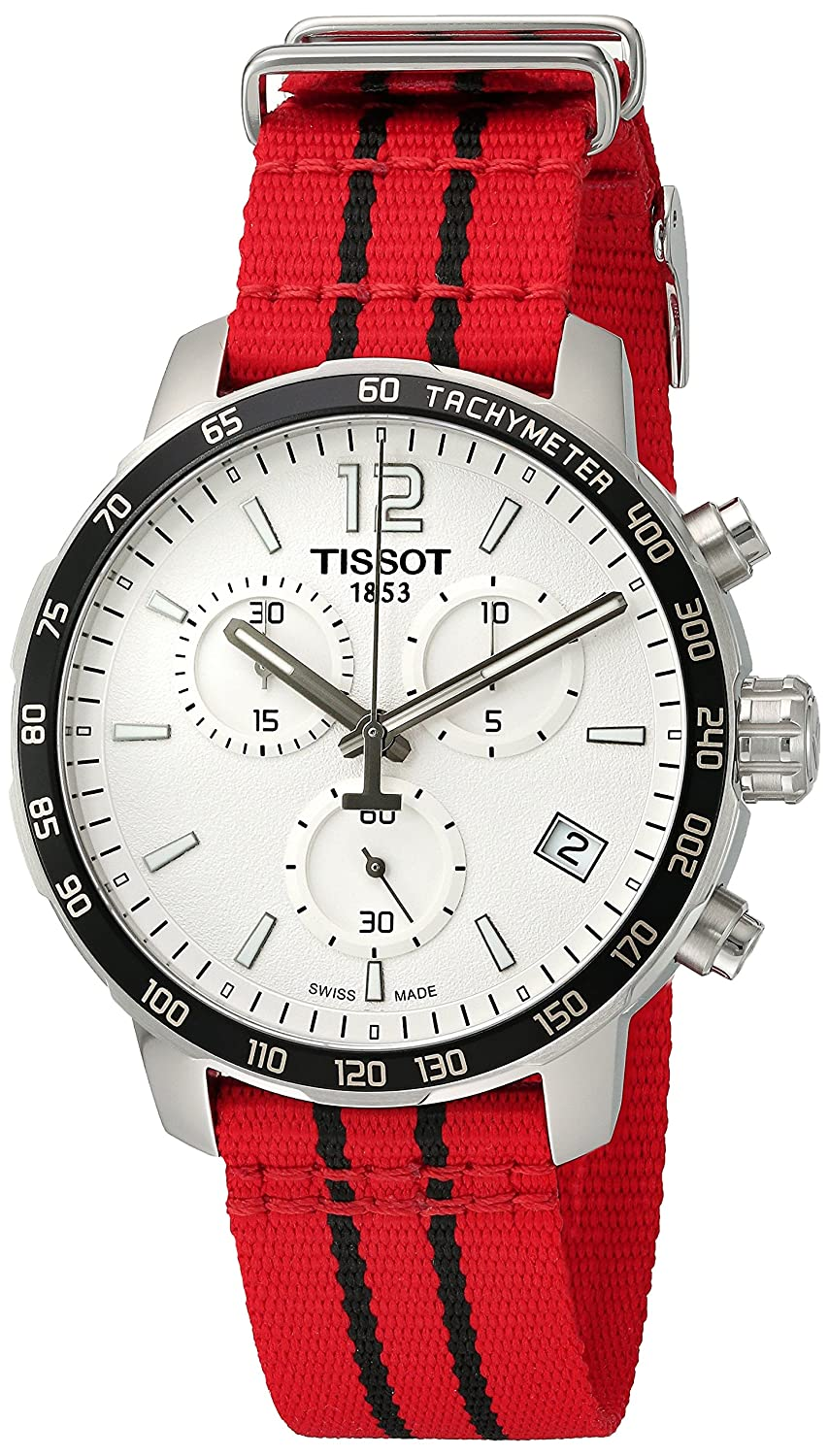 Tissot Men s Quickster Swiss Quartz Stainless Steel and Nylon Watch, Color Red Model T0954171703704