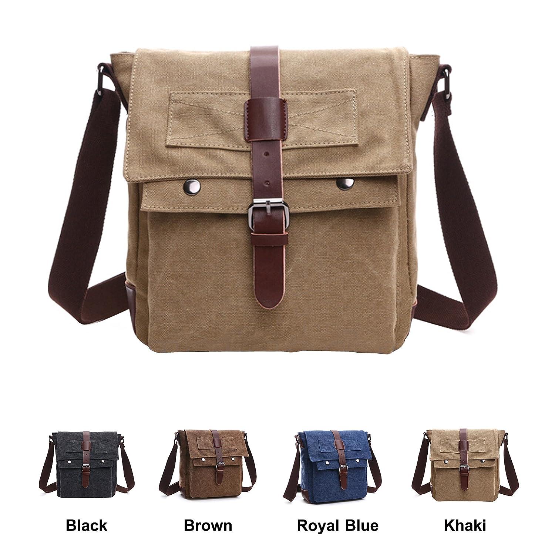 Queenie - Vintage Satchel Unisex Canvas Bag Cross Body Backpack Sling Rucksack Shoulder Bag Tote for Gym Travel Work