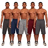 Essential Elements 5 Pack: Men's Active Performance Athletic Basketball Gym Workout Gym Cationic Shorts with Pockets