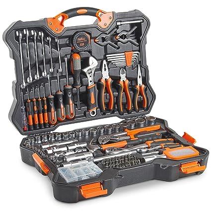 Set de 256 herramientas premium y enchufes VonHaus – Kit de herramientas con acabados satinados y