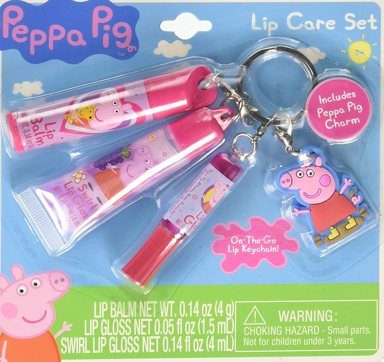 Peppa Pig Lip Gloss Keychain Cosmetics Set