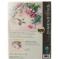 DIMENSIONS 13139 Hummingbird and Fuchsias Stamped Cross Stitch Kit, 14'' x 12''