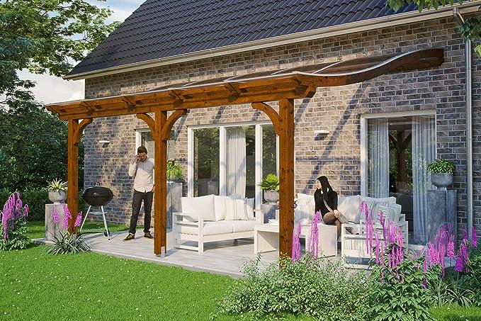 Skan Holz Terrassenüberdachung Venezia Cubierta para terraza, Nogal, 541 x 289 cm: Amazon.es: Jardín