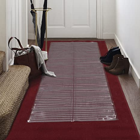 "Amazon.com: Clear Plastic Runner - Rug Carpet Ribbed Grip Plastic Protector Mat (27"" x 12FT): Office Products"