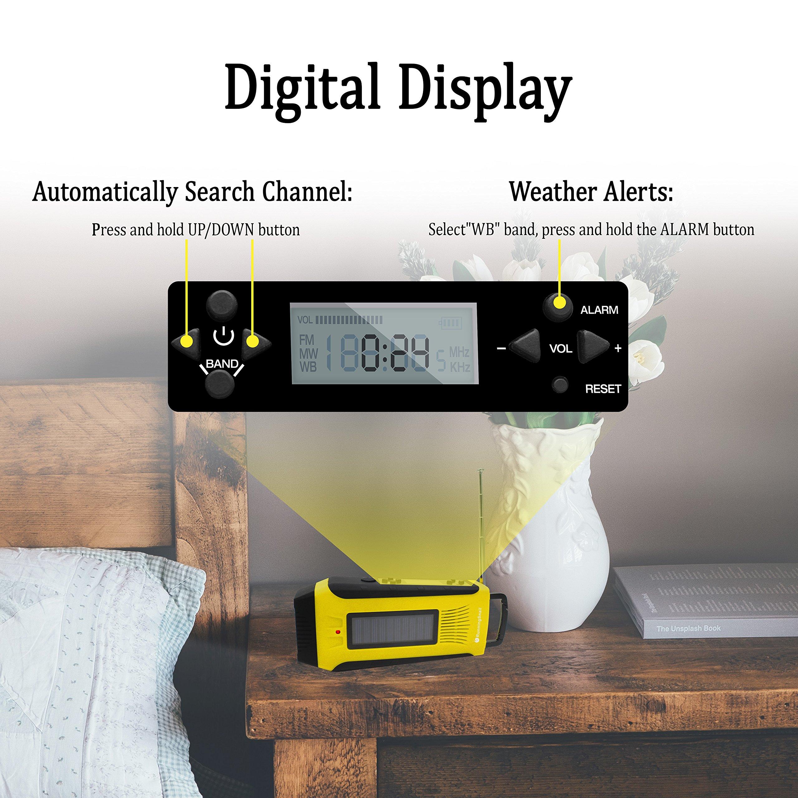 RunningSnail AM/FM NOAA Weather Emergency Solar Digital Crank Radio with 3W LED Flashlight, SOS Alarm & 2000MAh Power Bank(Yellow) … by RunningSnail (Image #5)