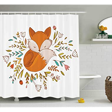 Ambesonne Cartoon Shower Curtain, Cute Baby Fox Sleeping in a Floral Made Bed Circle Art Print, Fabric Bathroom Decor Set with Hooks, 70 Inches, Dark Orange
