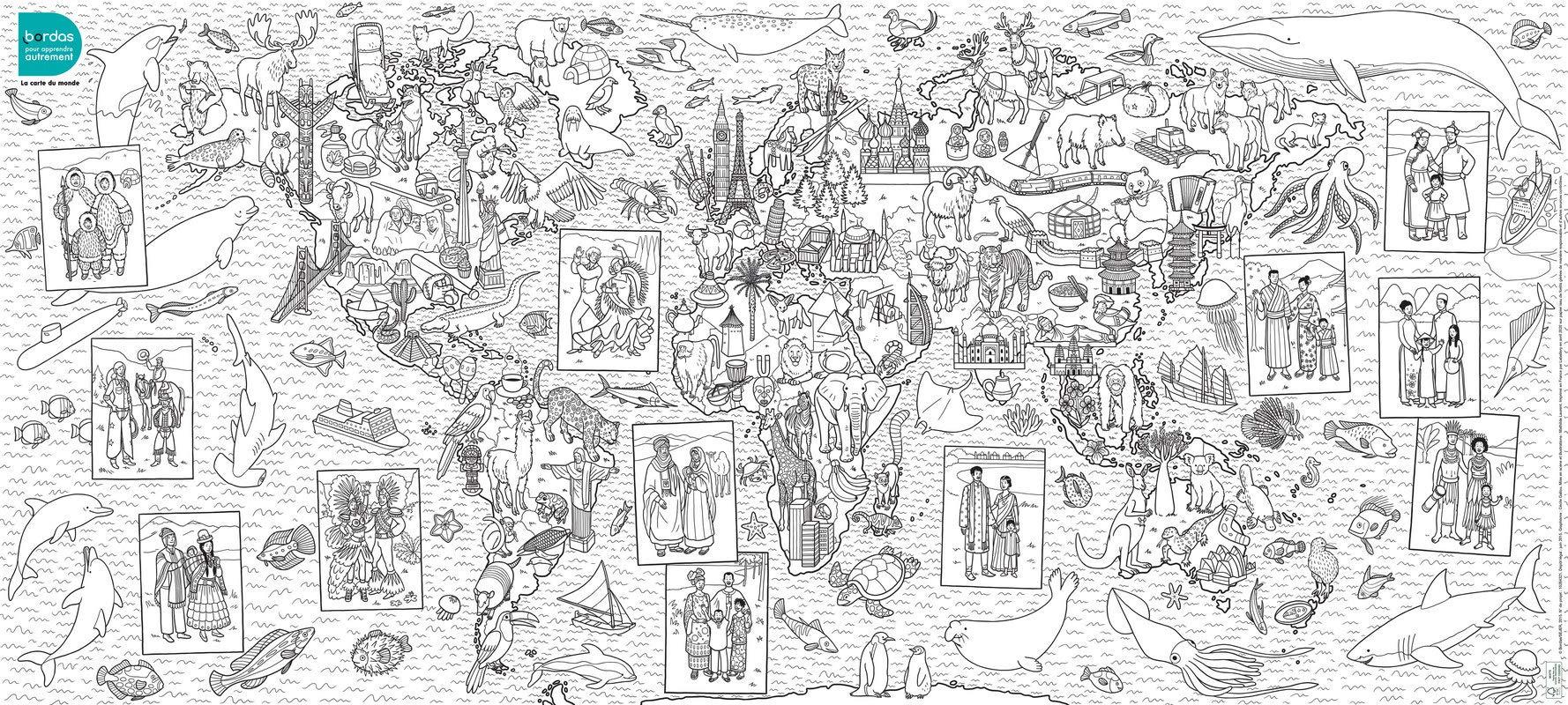 carte du monde à punaiser POSTER À COLORIER : LA CARTE DU MONDE: Amazon.ca: LAURENT,MATHILDE