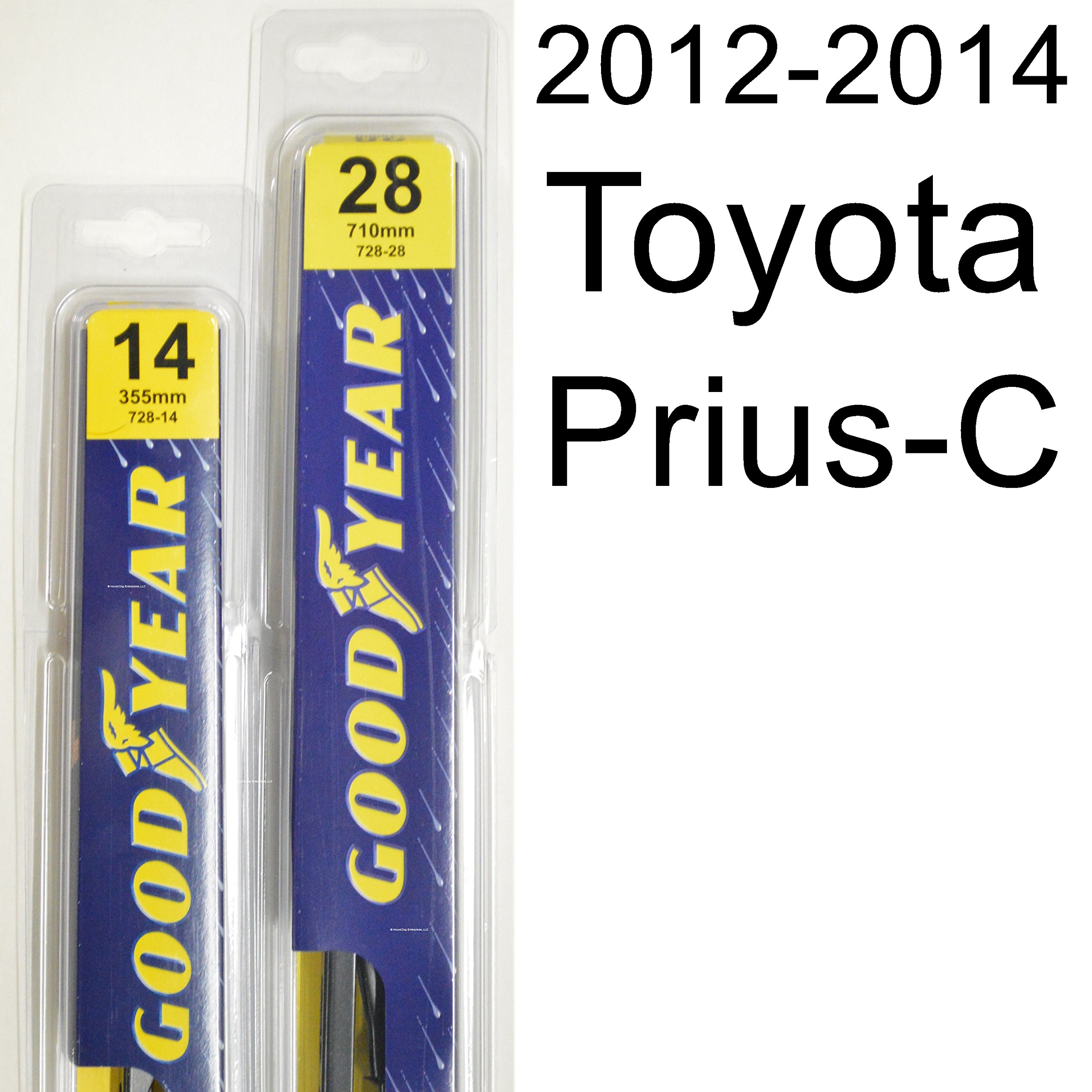 Toyota Prius-C (2012-2014) Wiper Blade Kit - Set Includes 28'' (Driver Side), 14'' (Passenger Side) (2 Blades Total)
