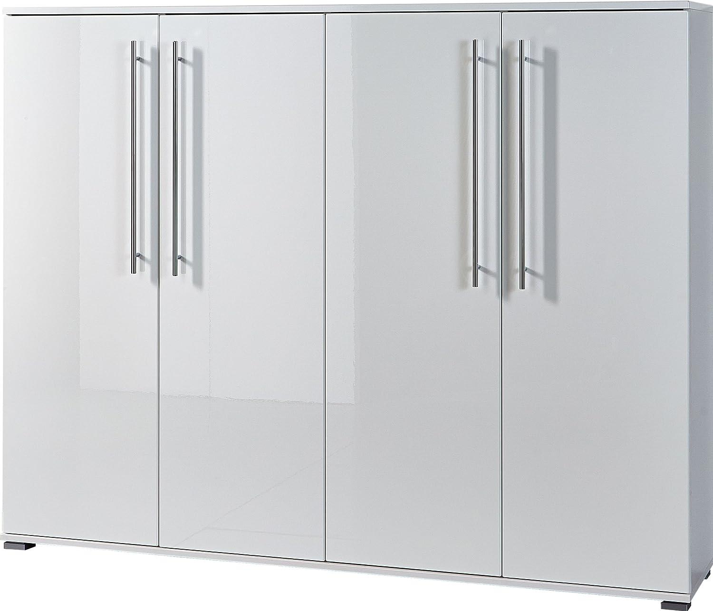 Germania 3182-84 Schuhschrank mit Metallschuhböden GW-Inside in Weiß, 160 x 127 x 34 cm (BxHxT)