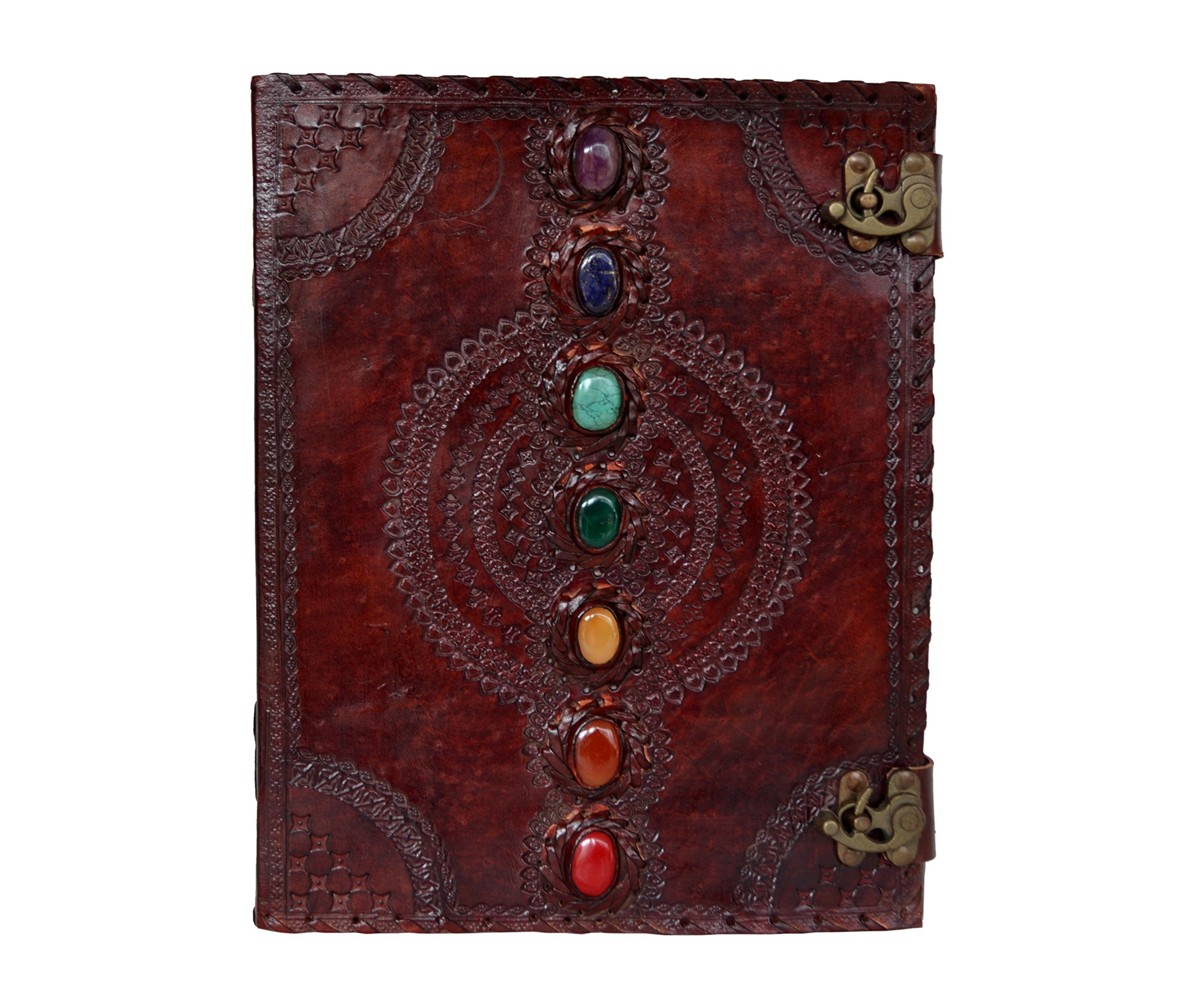 Seven Medieval Stone Chakra Leather Journal Embossed Handmade Book of Shadows Notebook Office Diary College Book Poetry Book Sketch Book 10 x 13 Inches