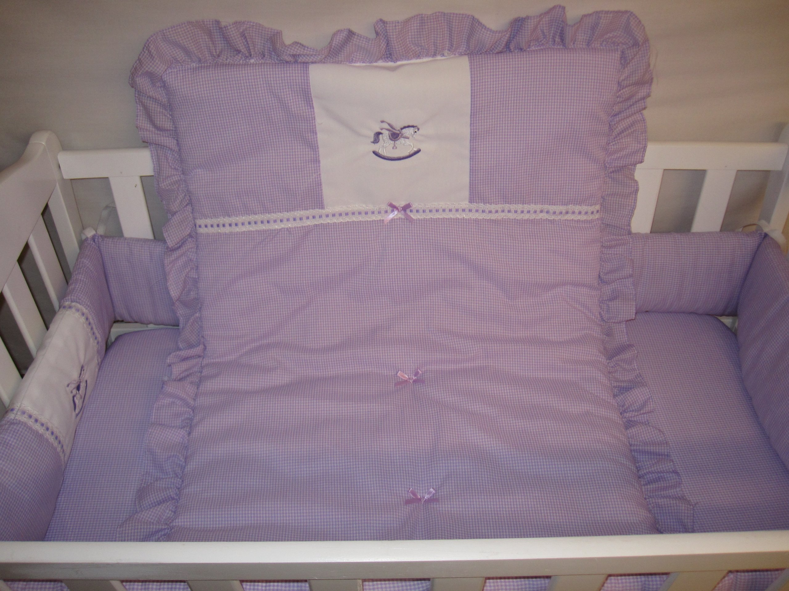 Baby Doll Bedding Gingham with Rocking Horse Applique Cradle Bedding Set, Lavender