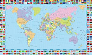 Gifts Delight World Map Poster with Country Flags - 48x24 Inches Laminated (HD), Durable & Tear Resistant | Political Country Flags Home Wall Map Picture Home Decor Globe Atlas Earth Geography Mural