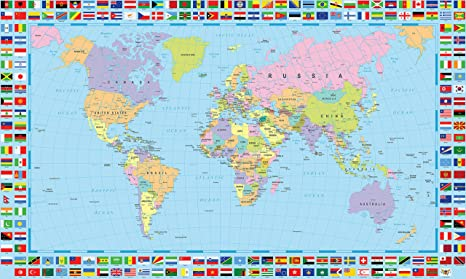 Amazon gifts delight world map poster with country flags gifts delight world map poster with country flags 48x24 inches laminated hd gumiabroncs Choice Image