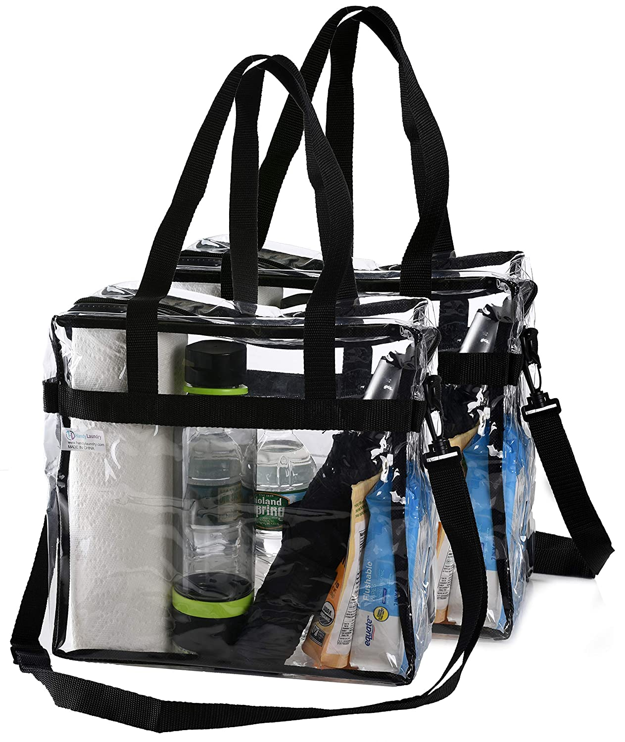 9e63c31d143c Clear Tote Bag NFL Stadium Approved - Shoulder Straps and Zippered Top.  Perfect Clear Bag for Work, School, Sports Games and Concerts. Meets NFL  and ...