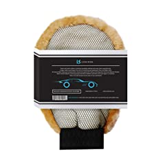 Genuine Lambswool 2-in-1 Wet/Dry Car Wash Mitt and Scrubber by Lush Ride | 100% Australia Natural Wool Automobile Detailing MittNo Swirls