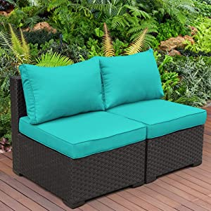 2 Piece Outdoor Sectional Furniture Set Patio PE Black Wicker Rattan Loveseat Armless Chair Sofa with Turquoise Cushion