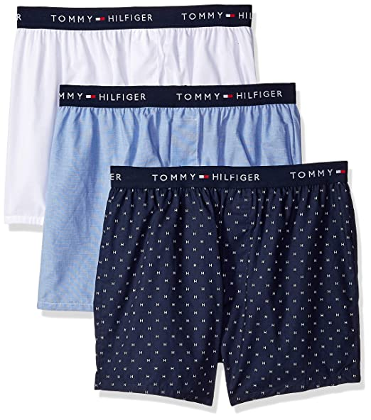 Tommy Hilfiger Mens Cotton Classics 3 Pack Slim Fit Woven Boxer