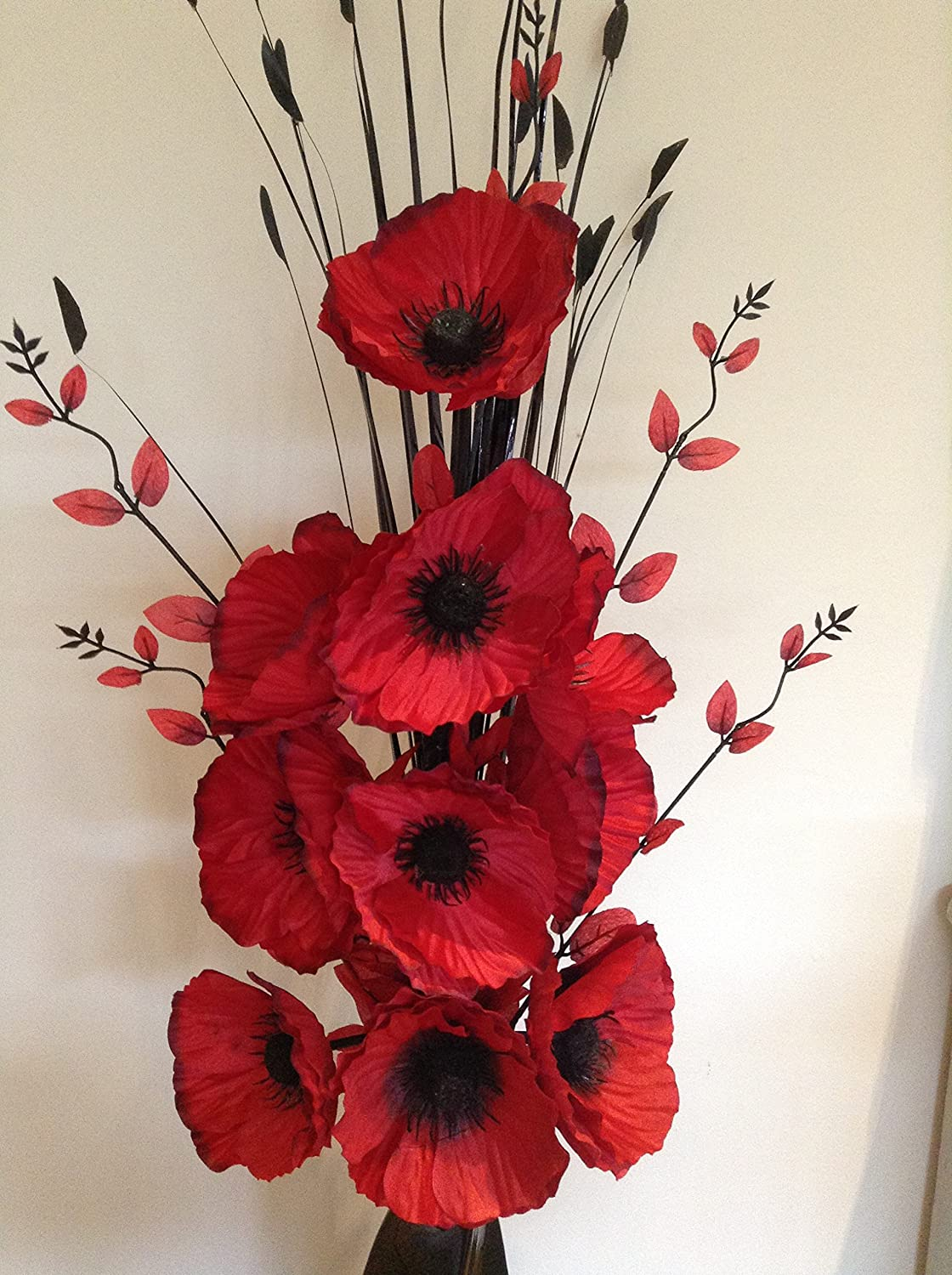 Artificial Silk Flower Arrangement In Red Poppies In Black Modern