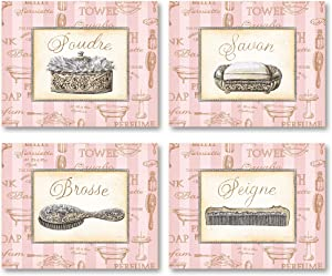 Gango Home Decor Beaute Feminine I Lovely, Pink, French Comb, Brush, Soap and Powder; Four 10X8 Poster Prints