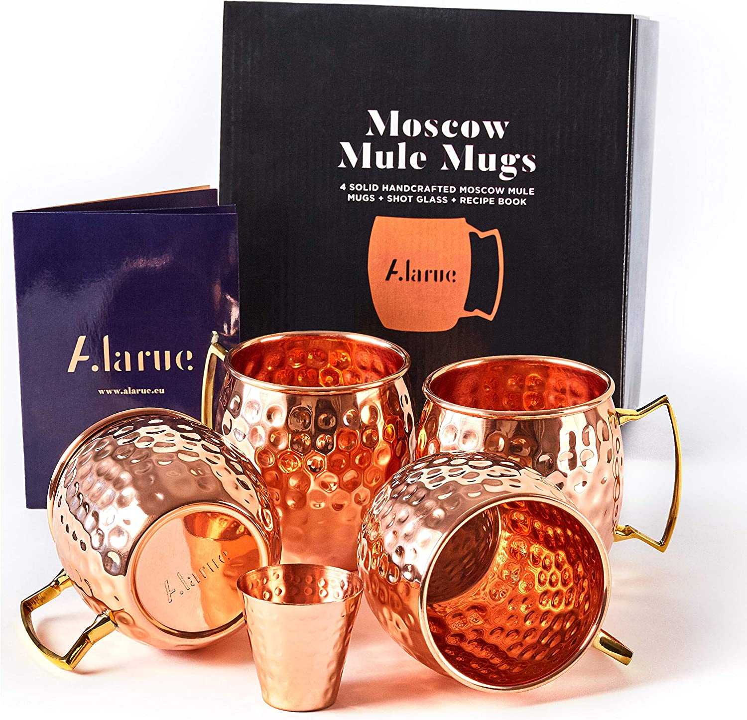 Moscow Mule Copper Mugs Set - 4 Authentic Handcrafted Mugs (16 oz.) with Shot Glass (2 oz.) - Food Safe Pure Solid Copper Mugs - Gift set with Recipe Book Included