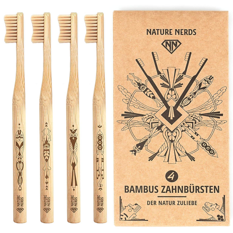 Nature Nerds - Set de cepillo de dientes de bambú (paquete de 4) ♻ Mango y embalaje de bambú 100% cultivado de manera sostenible y 100% biodegradable, ...
