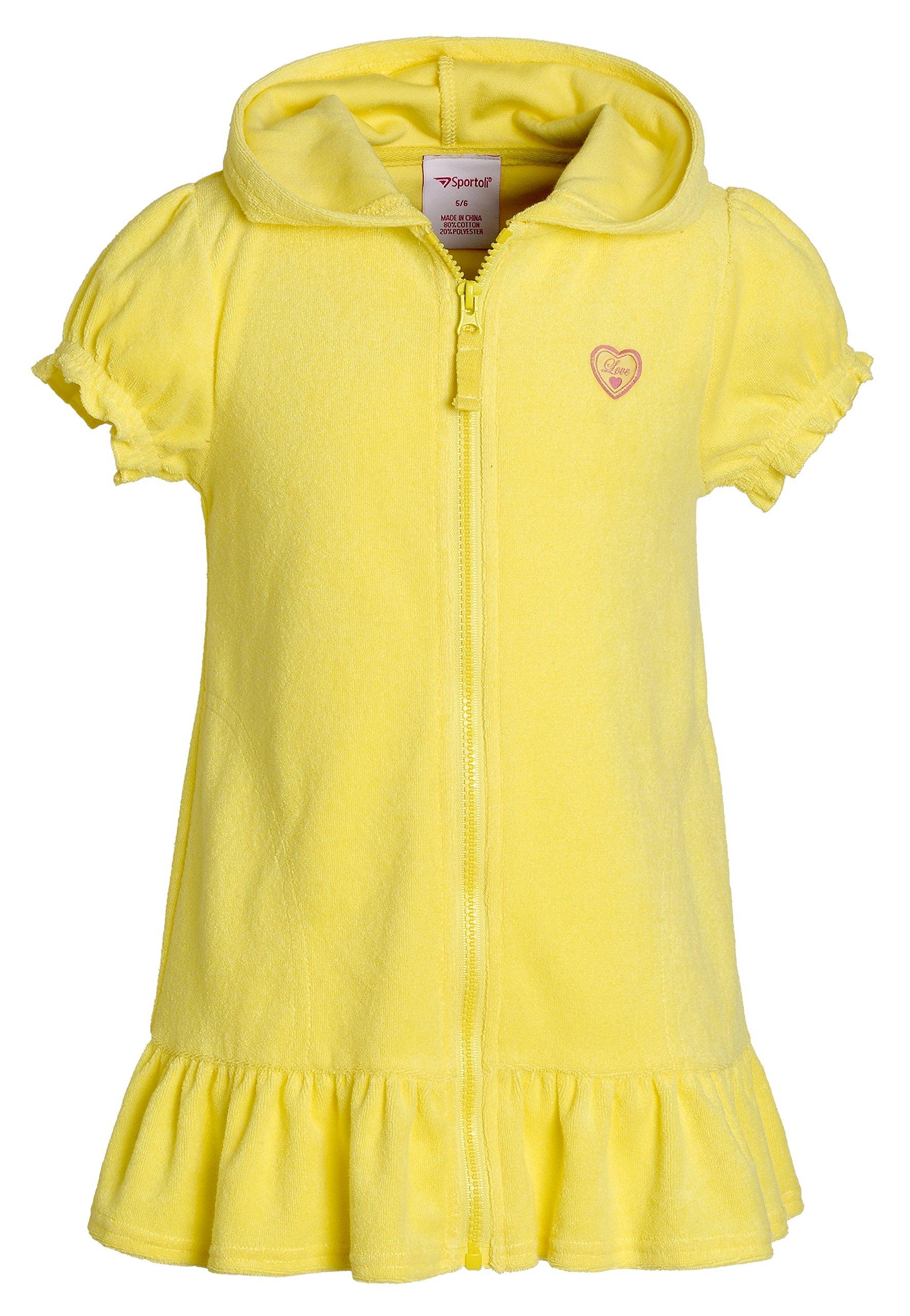 Beach Coverups for Girls Swimsuit Cover up Cotton Terry Hood Swim Robe Swimwear - Lemon (Size 7/8)