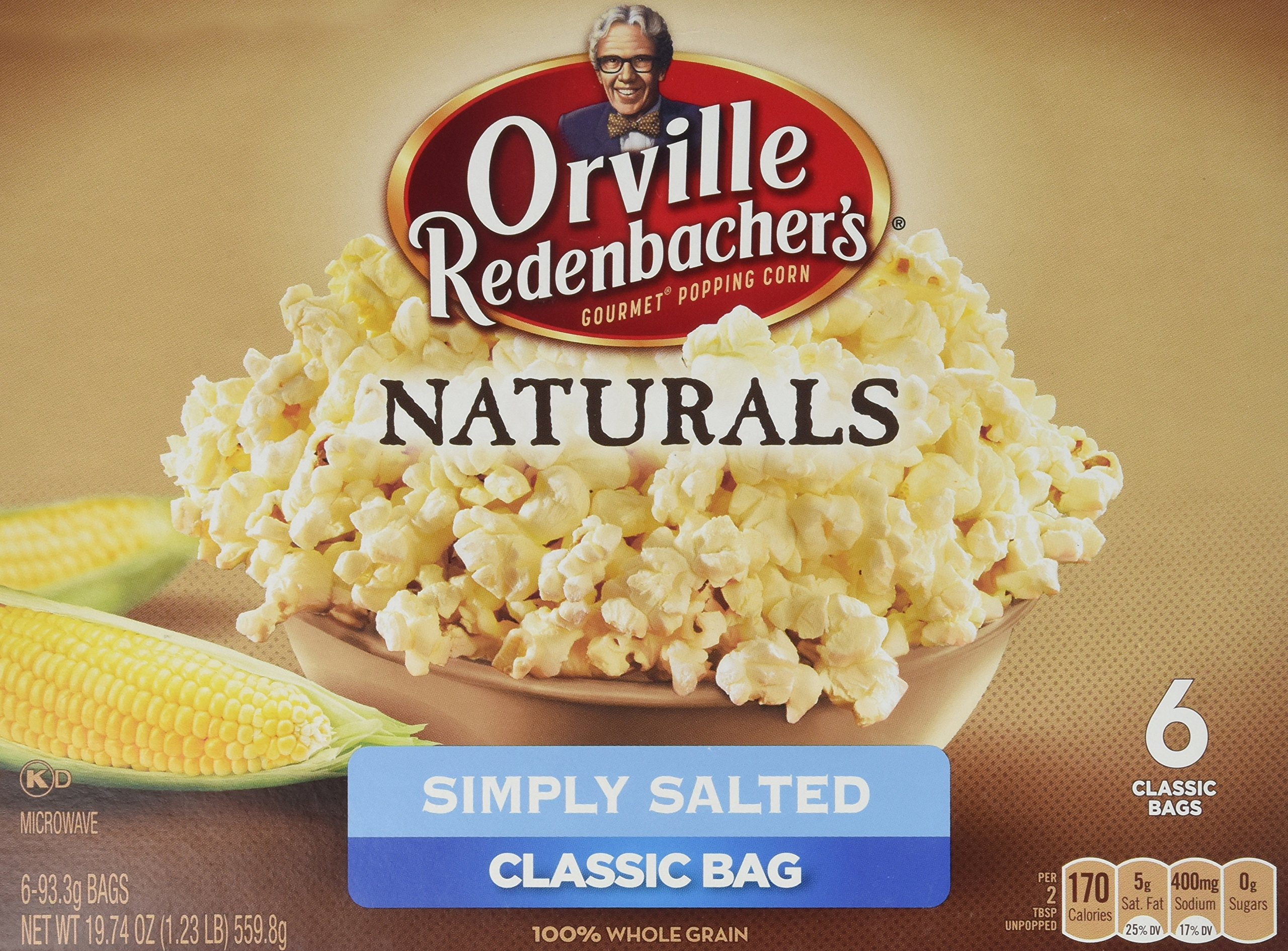2x Orville Redenbacher's Gourmet Microwavable Popcorn, Natural Simply Salted, 6 Count (=12 Bags)