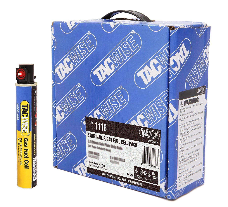 Tacwise 1116 Bande de 2200 Clous galvanisé s 3, 1/90mm avec 2 cartouches de gaz