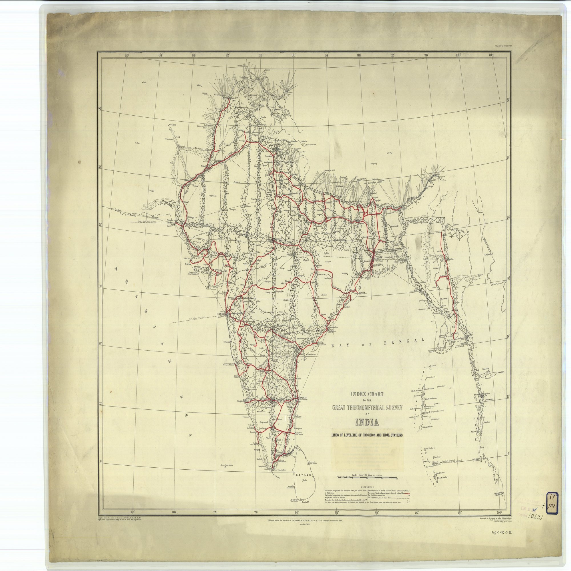 16 x 20 Glossy Nautical Map Printed on Metal Index Chart to the Great Trigonometrical Survey of India Lines of Levelling of Precision and Tidal Stations 1893 NOAA 23a