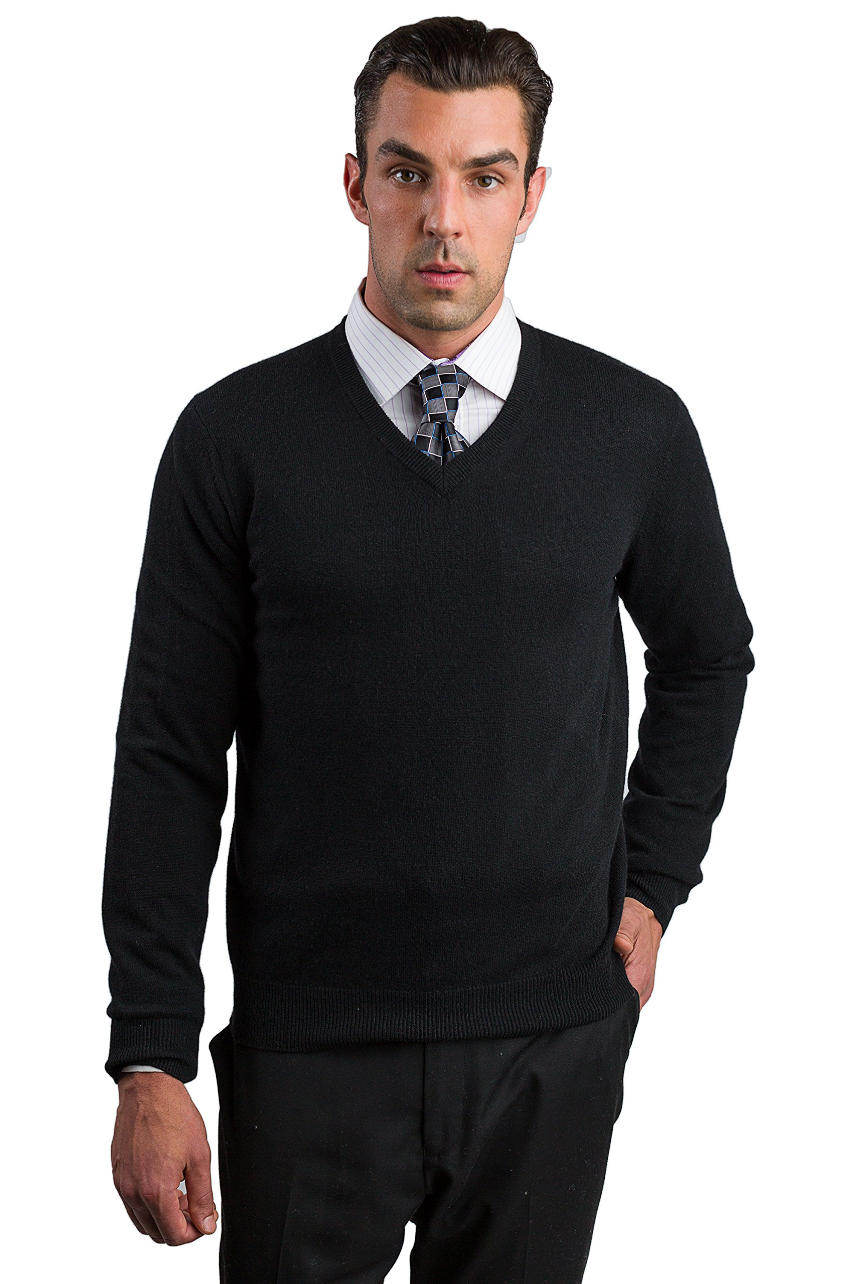 JENNIE LIU Men's 100% Cashmere Long Sleeve V Neck Sweater (Medium, Black) by JENNIE LIU