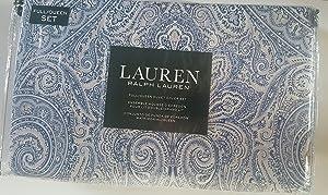 Ralph Lauren Bedding Full/Queen Size Duvet Cover Set Damask Paisley Medallion Floral Luxurious Blue White Gray Cotton